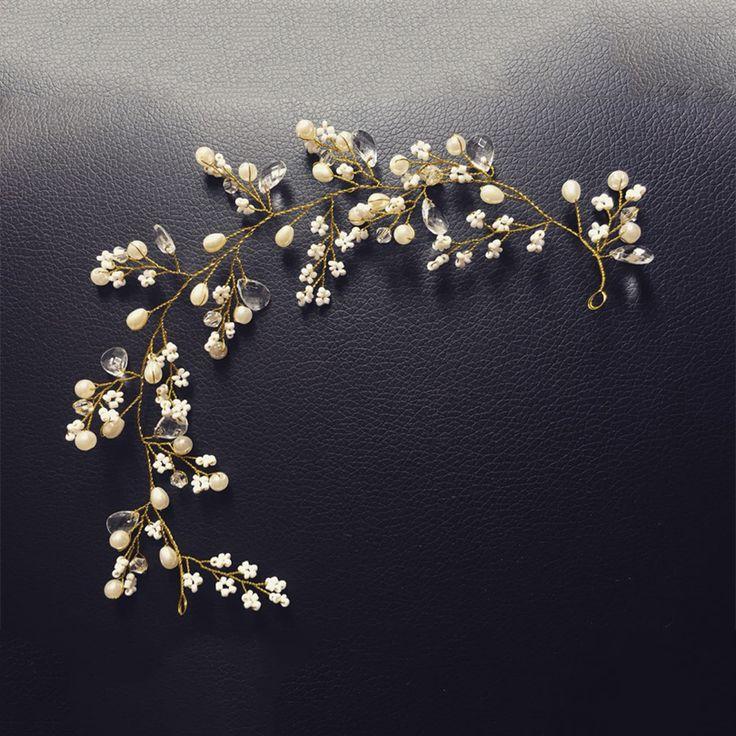 Золотые hairbands свадьбы тиару жемчуг свадебный венец 31 см повязки свадебные аксессуары для волос голова ювелирные изделия свадебные аксессуары для волос купить на AliExpress