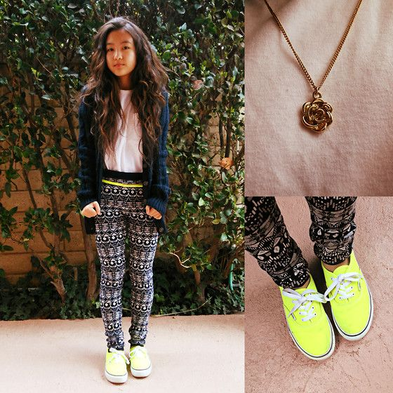 White T Shirt, Abercrombie Kids Cable Knit Cardigan, Forever 21 Tribal Leggings, Rose Necklace, Vans Neon Sneakers | Love is just a chemical creation. (by Angela Le) | LOOKBOOK.nu