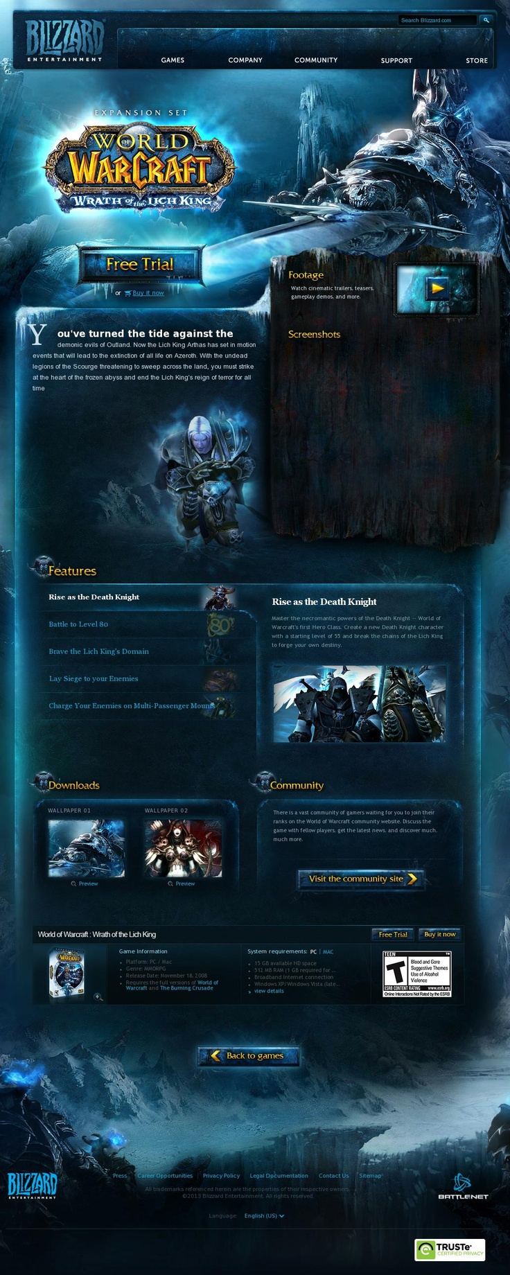 World of Warcraft: Wrath of the Lich King  http://us.blizzard.com/en-us/games/wrath/