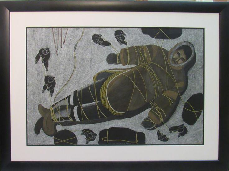 Tim Pitsiulak original drawing framed