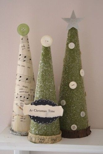 DIY Christmas Trees - the sheet music tree would be so cute on the piano!