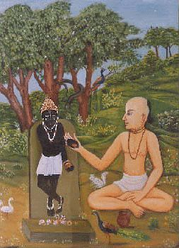 Sanatana Goswami worshipping Sri Madana-Gopal in Vrndaban