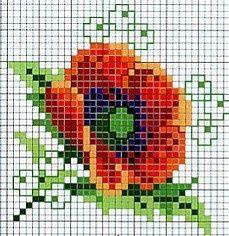 Papavero fiori punto croce