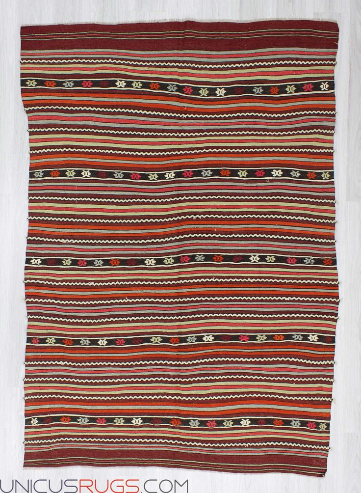 """Vintage handwoven striped kilim rug from Denizli region of Turkey. In good condition. Approximately 40-50 years old. Width: 5' 3"""" - Length: 7' 7"""" Striped Kilims"""