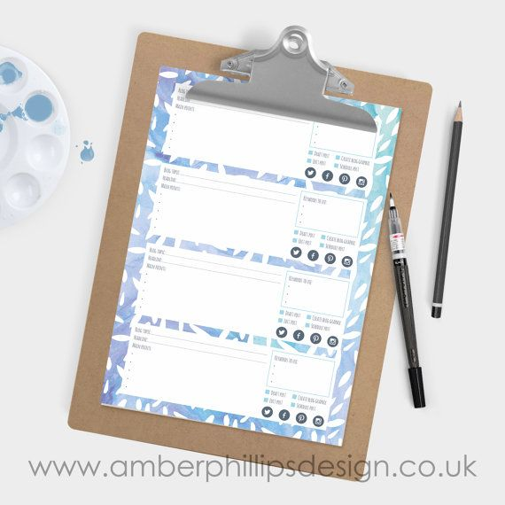 Printable blog post planner - Blue watercolour patterned. Plan 4 posts per sheet. Blog and business resource by Amber Phillips Design