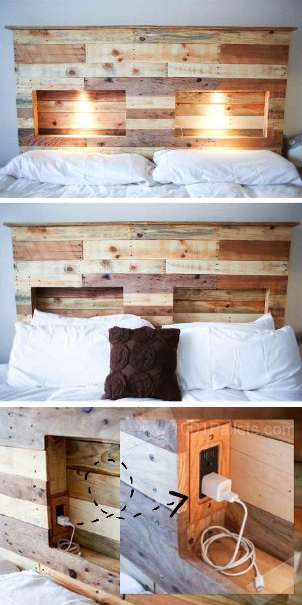 Tête de lit en palette avec lumière intégrée (et prises électriques !)     http://www.homelisty.com/tete-lit-palette/