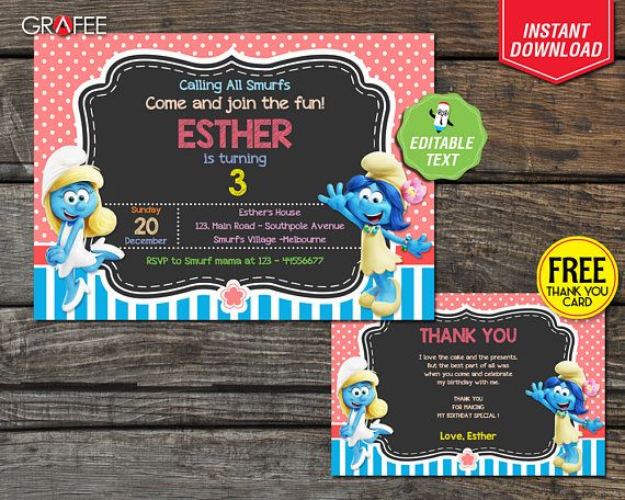 Hey, I found this really awesome Etsy listing at https://www.etsy.com/uk/listing/518058176/smurfs-invitation-5x7-editable-text