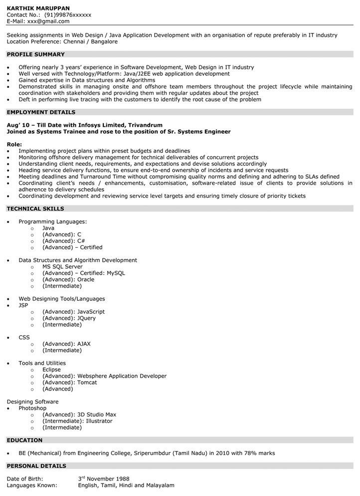 0 1 Year Experience Resume Format Graphic Design Resume Web Design Resume Design Template