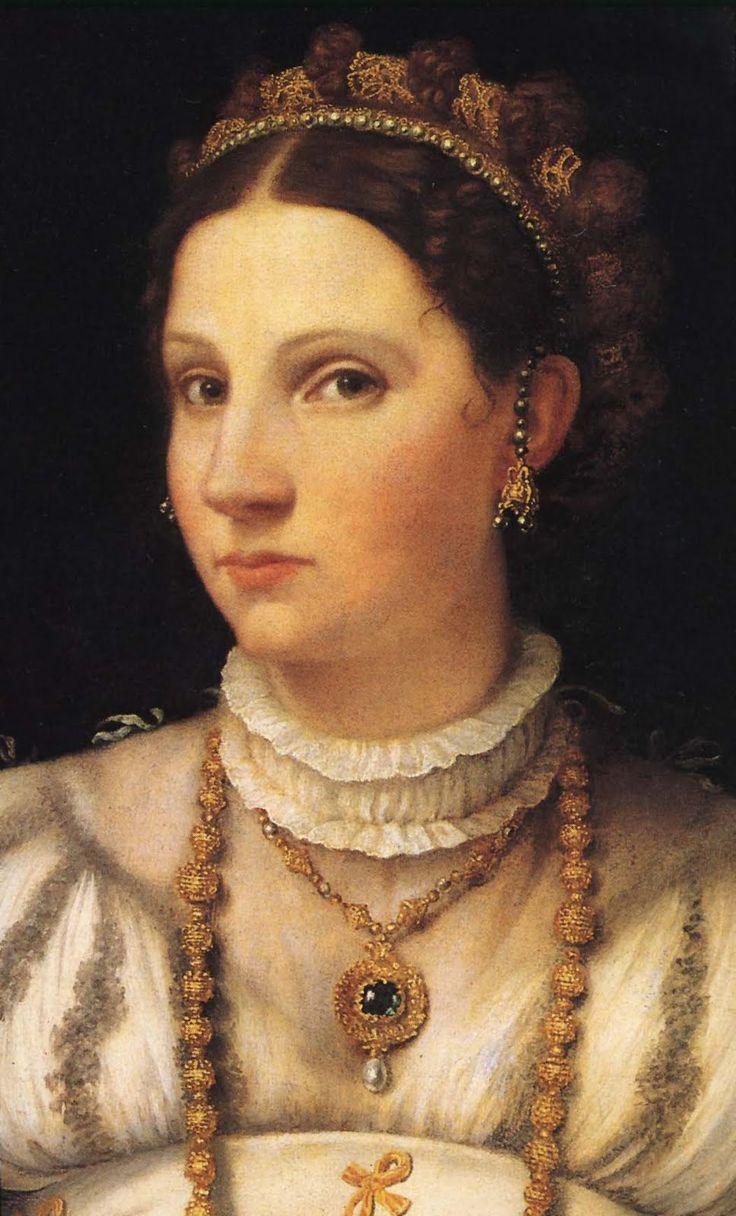 Moretto da Brescia, (detail) Portrait of a Lady in White - c. 1540 - NG Washington