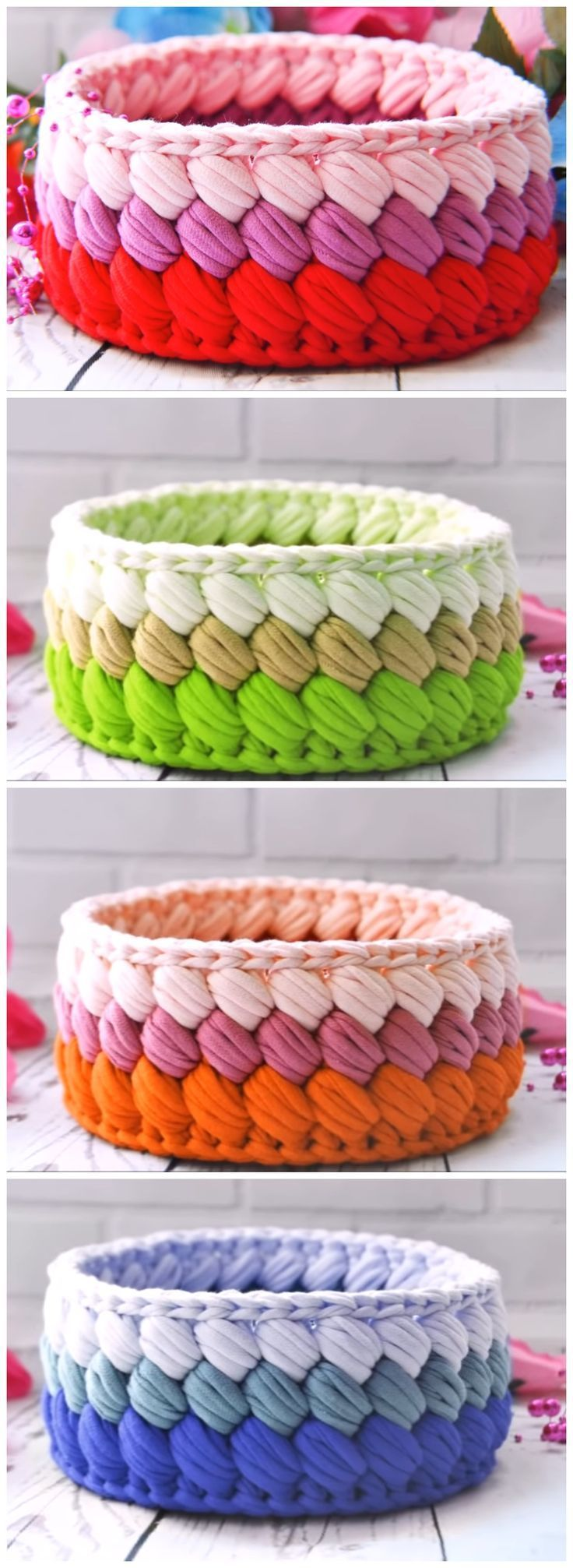 Crochet Fast And Easy Basket  Definitely need to make some of these bowls!  The …