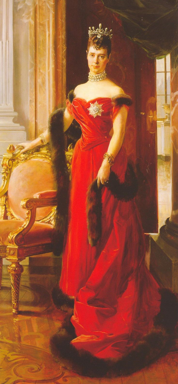 Evening wear of the 1890s did not always use leg-o-mutton sleeves as can be seen in this Flameng portrait of Maria Feodorovna.