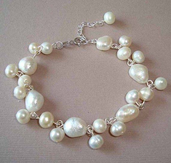 White Fresh Water Pearls Silver Bracelet