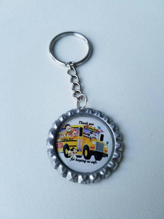 Bottlecap Bus Driver Gift Keychain School Bus Driver by LiviWear