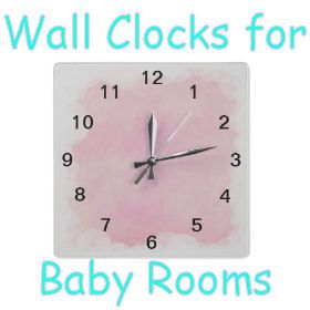 Art on Products: Wall Clocks for Baby Rooms. Do you want a clock that ticks or one that is silent. You can choose from a variety of designs and sound or no sound options here.