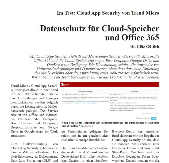 Im Test: Cloud App Security von Trend Micro