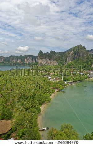 http://www.shutterstock.com/pic-244064278 Thailand, Railay Beach From One Of Two View Point Hike,S Through It Cliff Like Mountain Forests. Below You Can See Two Of Its Three Tropical Beach Bays And Palm Tree Forests In Between Stock Photo 244064278 : Shutterstock #thailand #stockphoto #thailandphoto #stockimage #thailandstock