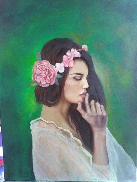 Portrait Girl Flowers,  oil on canvas by ARTEILA