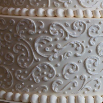 Ivory Scroll Wedding Cake