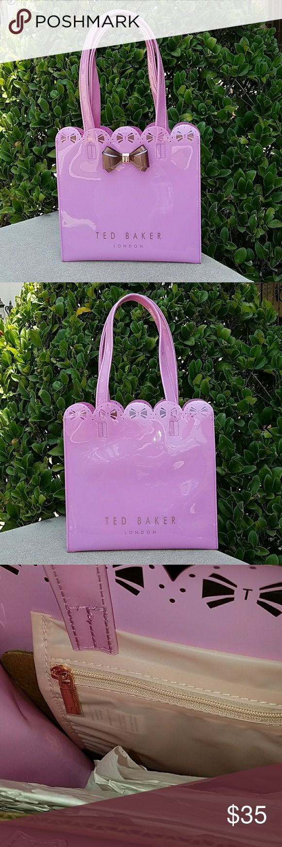 "Ted Baker Handbag Elegant Ted Baker handbag. This is a medium sized bag, measured at length 9 7/8 "", depth 9"" , excluding handles, and width 4 3/4"".  The bag is a glossy pink, rigid, with one internal pocket, pictured. The bag is brand new, unused, purchased directly from Ted Baker. Ted Baker London Bags"