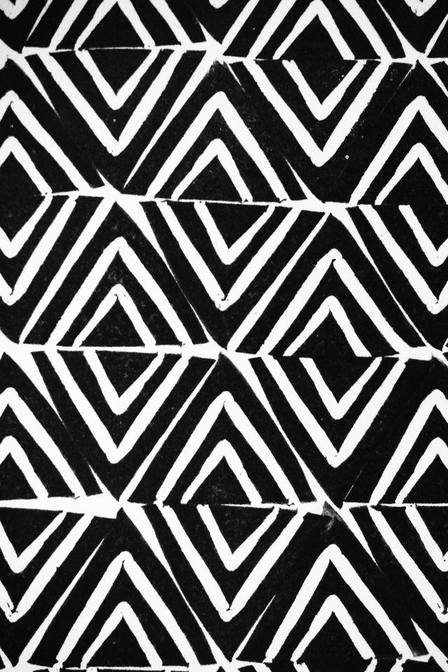 Monochrome Triangles - black & white pattern; hand-stamped print design // Cotton & Flax