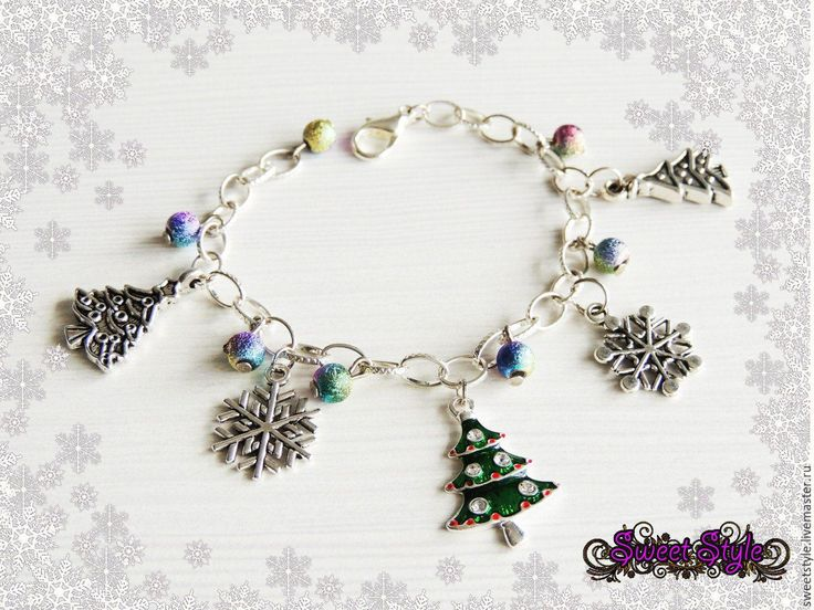 Купить Новогодний браслет с подвесками 3 - новогодние игрушки, новогодний браслет, браслет новогодний