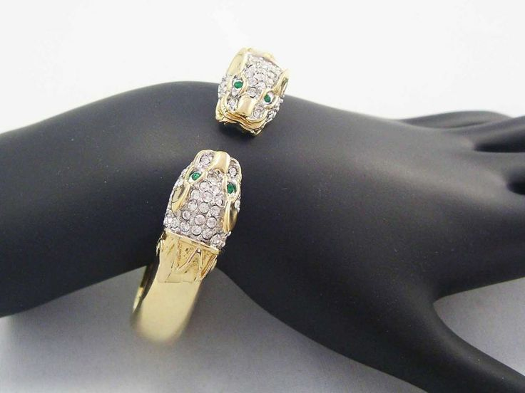 BUTLER signed VINTAGE Double Headed Gold PANTHER Cat Bangle ICE Rhinestones #Butler