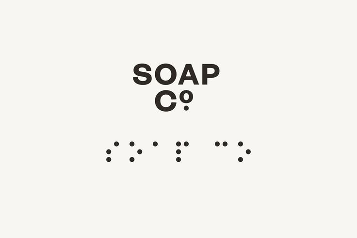 Logo with a Braille component designed by UK based graphic design studio Paul Balford Ltd. for luxury hand made soap business the Soap Co.