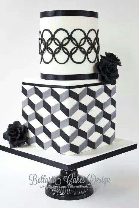 Modern Black And White Bridalshower Cake With Geometric Patterns Modern Black And White Bridalshower Cake With Geometric Patterns Escher Design I Had A