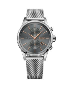 BOSS by Hugo Boss Gray Sterling Silver with Rose Gold-Tone Details Mesh Bracelet Watch