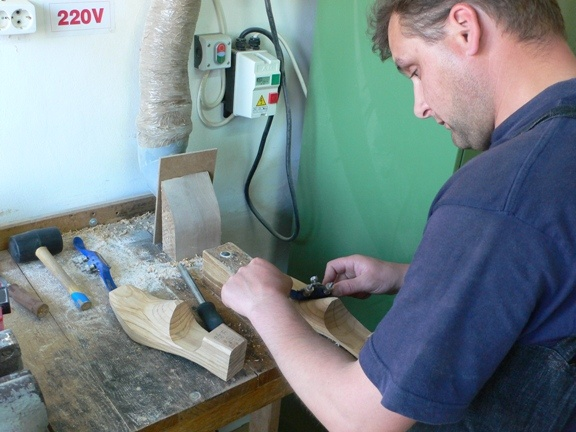 hollowed shoe trees in the making, 8 hours per pair...