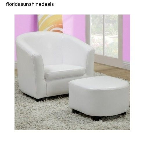 White Chair Ottoman Mini Kids Furniture Set Leather Look Child Bedroom Play Room #Traditional