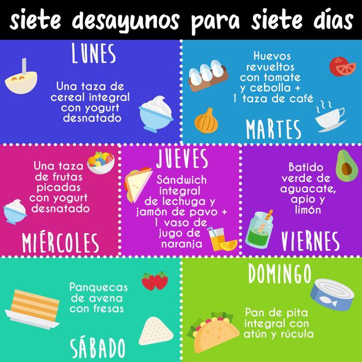 Comer saludable no debe ser aburrido, mira estos distintos desayunos para una semana #Desayuno #Recetas #Light #Saludable