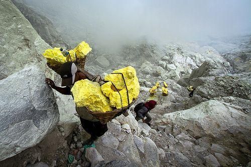 Java. Sulphur Workers climbing up the Ijen caldera.:
