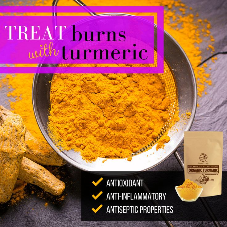 Looking for a home remedy for treating burns? Anti-microbial and healing properties of turmeric are beneficial for speeding up skin recovery, fighting potential infections and helping heal wounds faster.  #turmeric #burns #skinrecovery #healwounds #homeremedy #healing