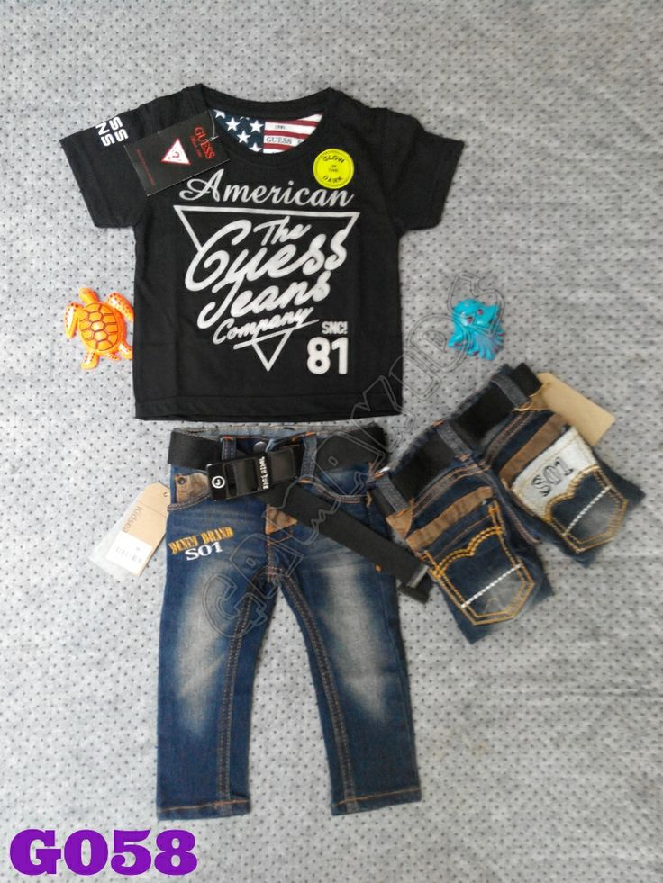 T-shirt Guess baby set (glow in the dark), jeans, belt (G059) Hitam || Size 2-12 bulan || IDR 125.000