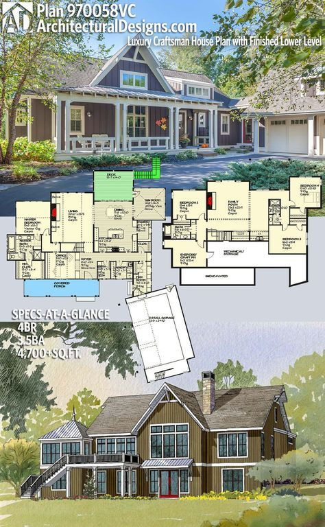 Architectural Designs House Plan 970058VC 4BR | 3.5BA | 4,700+SQ.FT. Ready when you are. Where do YOU want to build? #970058vc #adhouseplans #architecturaldesigns #houseplan #architecture #newhome #newconstruction #newhouse #homedesign #dreamhome #dreamhouse #homeplan #architecture #architect
