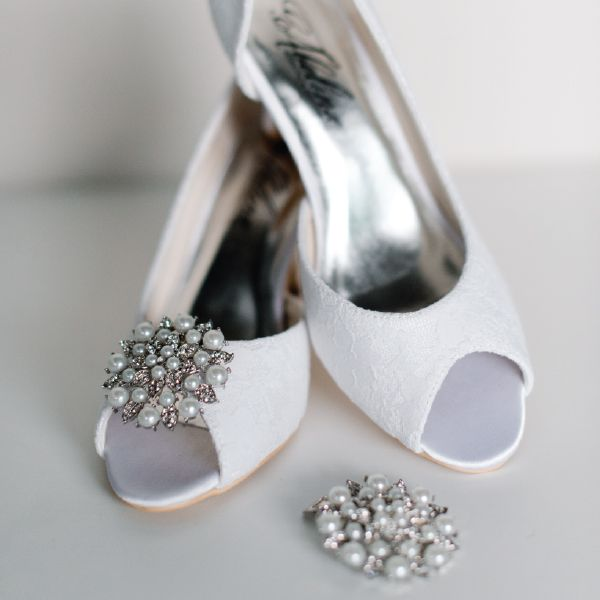 Wedding Shoe Clip Accessories by Pearl & Ivory ®  - Find more elegant wedding shoes from our collection www.pearlandivory.com/bridal-shoes.html. Photography by Yolande Marx #PearlandIvory #WeddingShoes #Pearl #ShoeAccessories #ShoeClips #BridalShoes