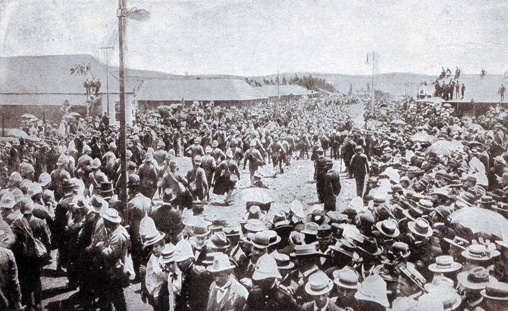 British prisoners from Nicholson's Nek on 30th October 1889 arriving at Pretoria Racecourse