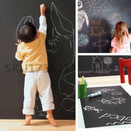 "23.62""x78.74"" Vinyl Chalkboard Wall Stickers Removable Blackboard Decals Chalkboard Contact Paper Self-Adhesive For School/ Office/ Home Image 3 of 8"
