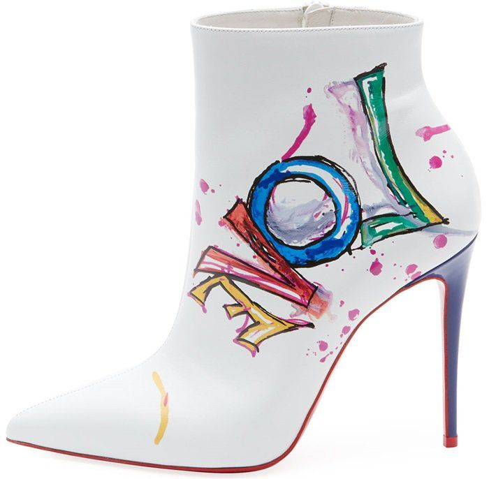 info for bacdc 10351 White Boot In Love Printed Red Sole Booties | Christian ...