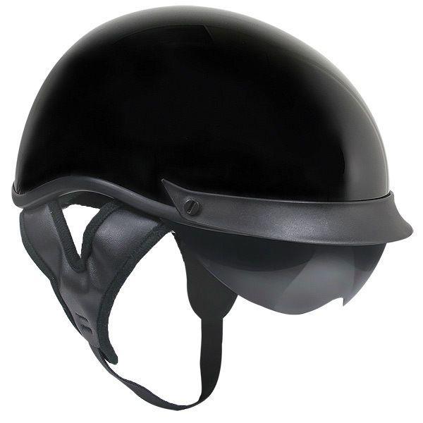 Outlaw T72 DOT Gloss Black Drop Visor (Smoke) Motorcycle Skull Cap Half Helmet #outlaw #Motorcycle