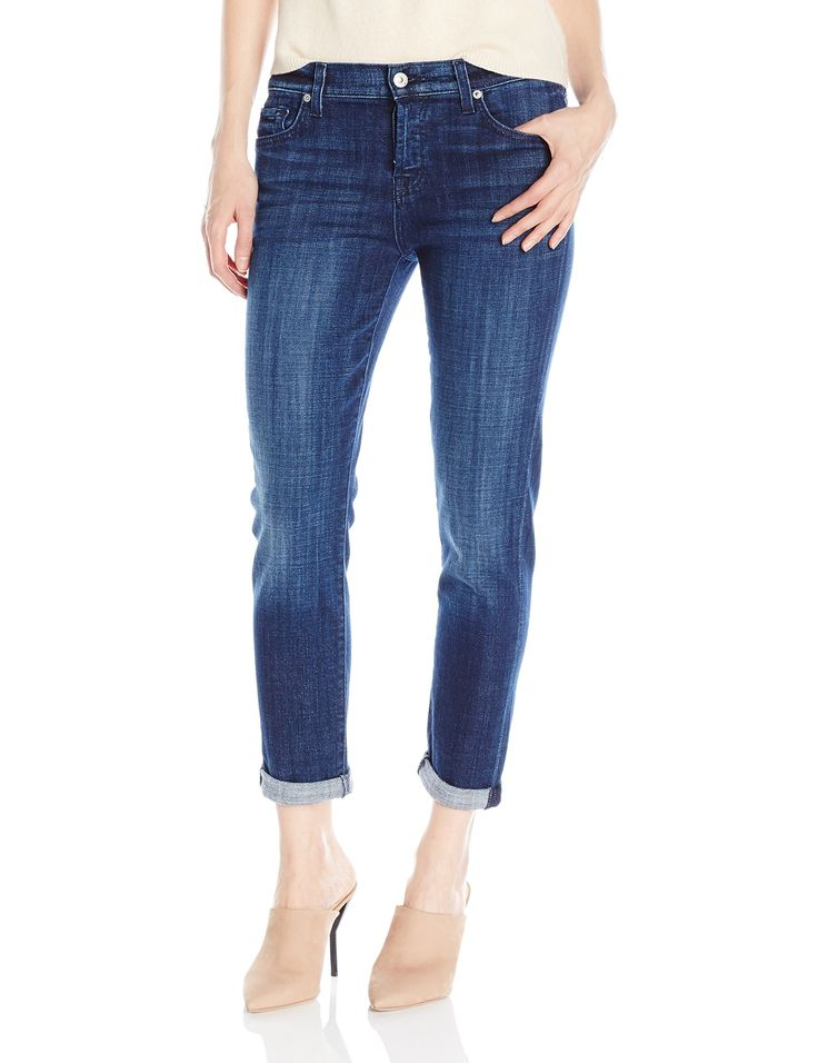 """7 For All Mankind Women's Josefina Boyfriend Jeans, Bordeaux Broken Twill, 27. Boyfriend jean in 9.8-ounce stretch denim featuring whiskered hips and rolled cuffs. Five-pocket styling. Button fly. Front rise: 9"""", Leg opening: 12.75"""", Inseam: 27""""."""
