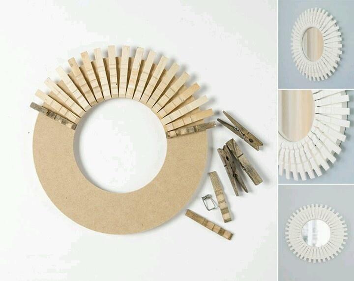 ¿Tienes pinzas de ropa hechas de madera? ¡Puedes usarlas para hacer este bello espejo!