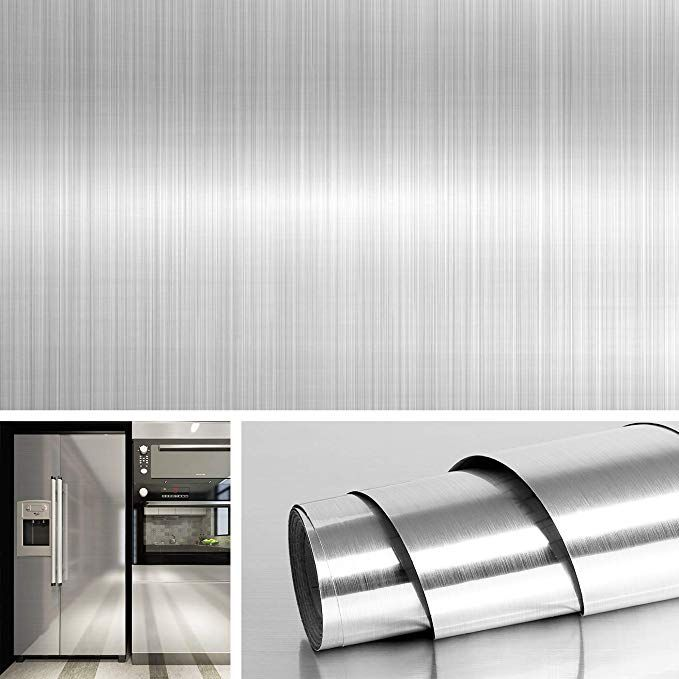 Livelynine Brushed Nickel Vinyl Peel And Stick Wallpaper Decorative Stainles In 2020 Stainless Steel Contact Paper Stainless Steel Backsplash Peel And Stick Countertop