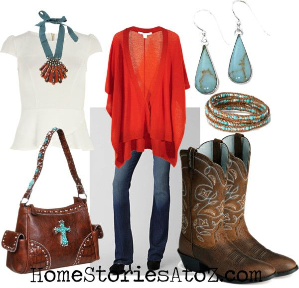 fall outfit - jeans with brown cowboy boots, red sweater, and turquoise jewelry. color combo Different jeans for me!