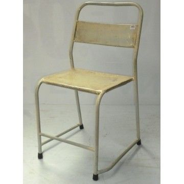 Dining chair Metal Old School White Washed