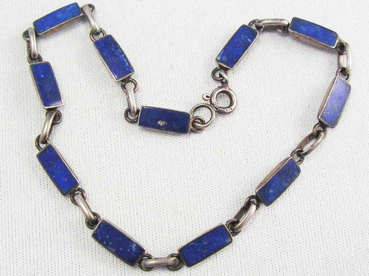 GENUINE ~ ART DECO~ Sterling Silver Lapis Luzli gemstone panel bracelet FINE 925