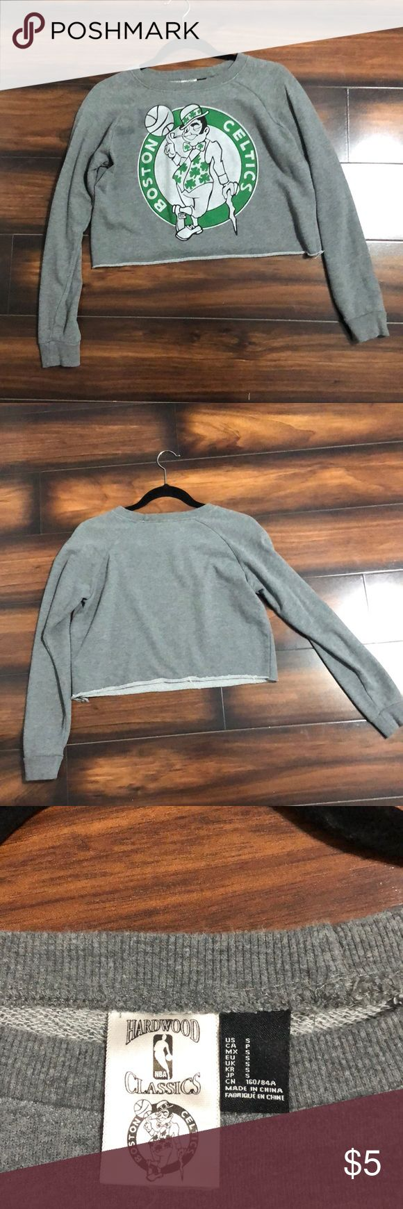 Forever 21 Cropped Celtics Sweatshirt Grey cropped Celtics sweatshirt! Only worn once! Super cute with high waisted leggings and sneakers!💕 Forever 21 Tops Sweatshirts & Hoodies