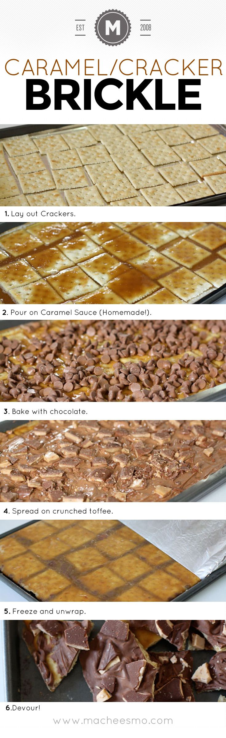 Brickle recipe homemade with caramel sauce, chocolate, and a secret ingredient.