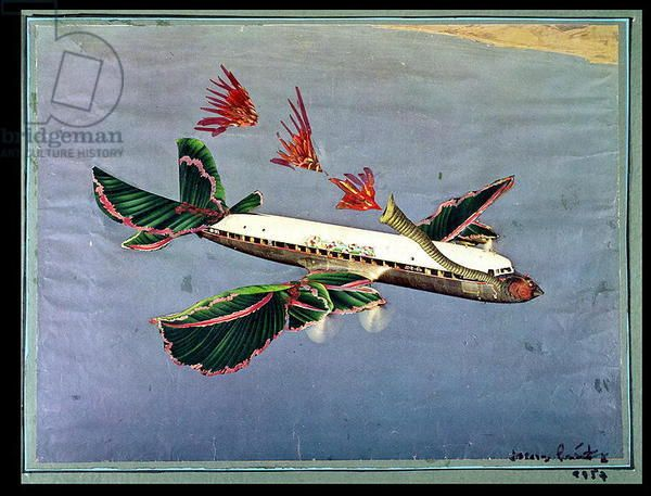 Jacques Prevert (1900-1977) The Aeroplane, 1957 (collage)
